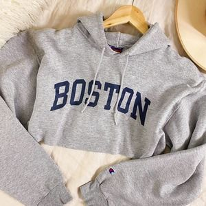 Champion Grey Boston Cropped University Hoodie